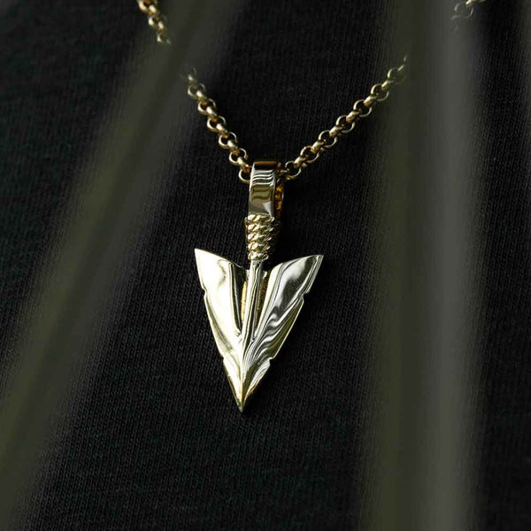 Gold Arrowhead Pendant and Necklace Gold Gods 2