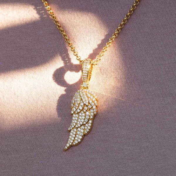 Gold Micro Diamond Wing Pendant Necklace Gold Gods 1