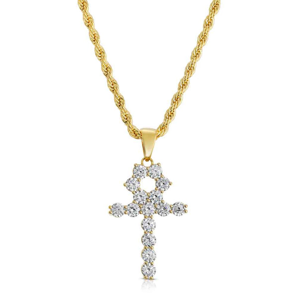Micro Diamond Ankh Gold Necklace Pendant & Rope Gold Chain  Gold Gods® close up front view