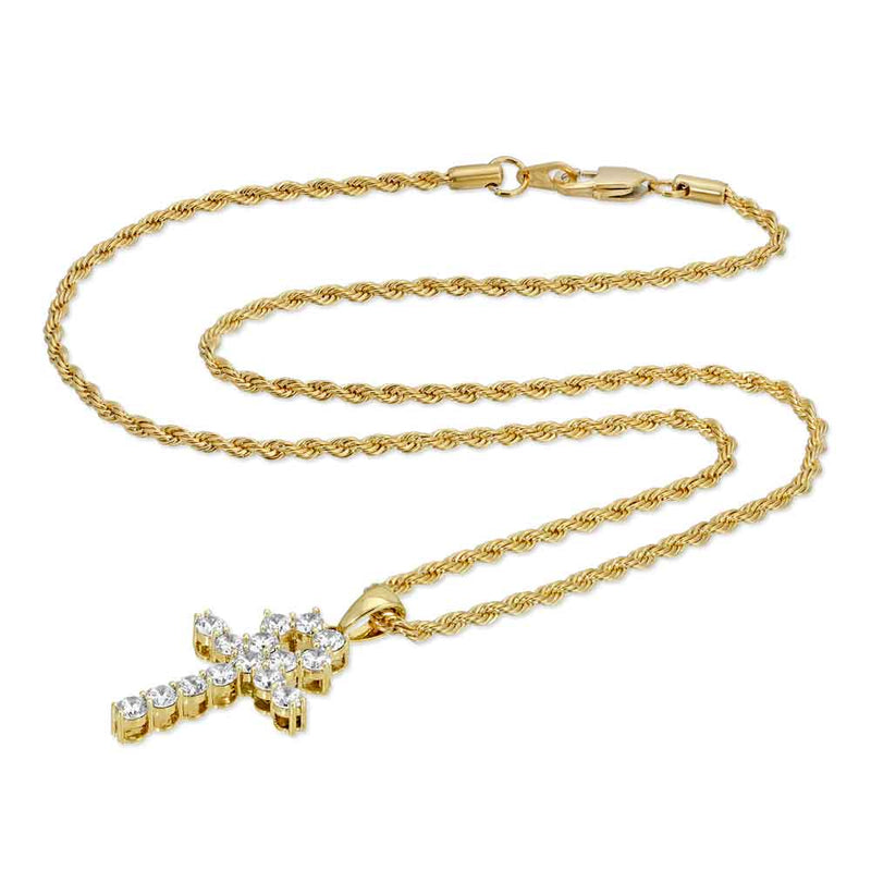Micro Diamond Ankh Gold Necklace Pendant & Rope Gold Chain  Gold Gods® chain