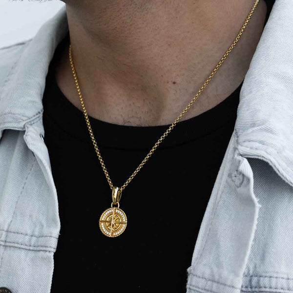 Gold Micro Compass Pendant Necklace Gold Gods 2