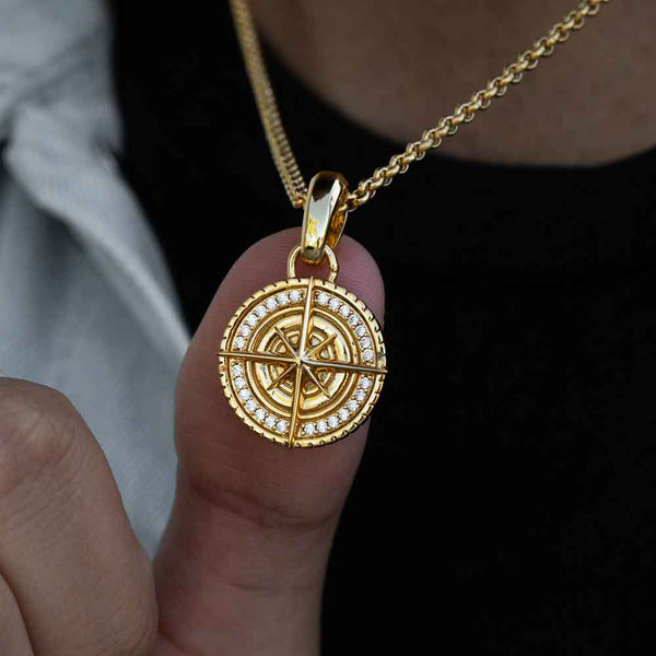 Gold Micro Compass Pendant Necklace Gold Gods 1