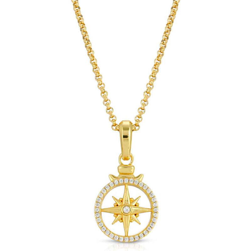 Micro Open Compass Necklace Pendant Gold Gods 5