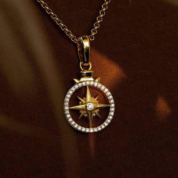 Micro Open Compass Necklace Pendant Gold Gods 1