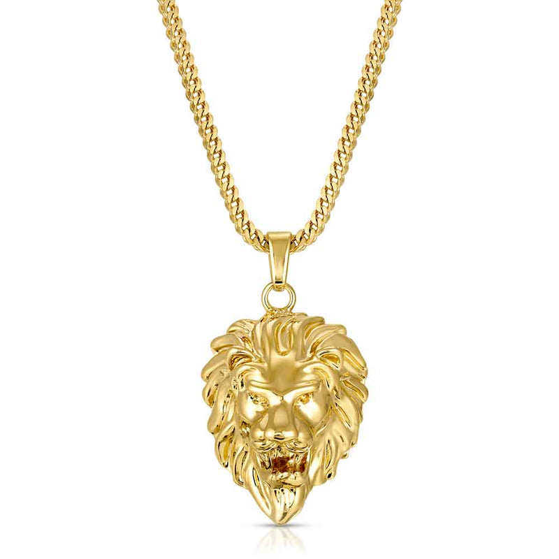 Gold Lion Head Necklace Pendant & Franco Gold Chain Gold Gods® front view