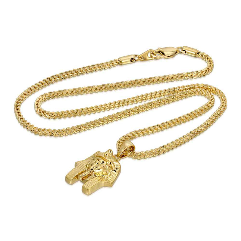 Pharaoh Head Gold Necklace Pendant & Franco Gold Chain