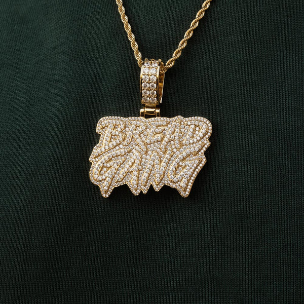 Moneybagg Yo X Gold Gods Diamond Bread Gang Pendant Necklace 2