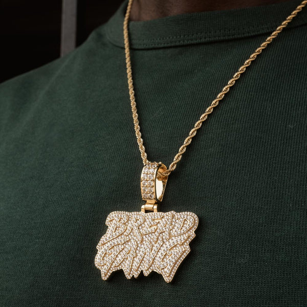 Moneybagg Yo X Gold Gods Diamond Bread Gang Pendant Necklace 1