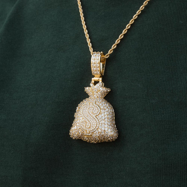 Diamond Fully Iced Moneybag Pendant Necklace by Bread Gang 2