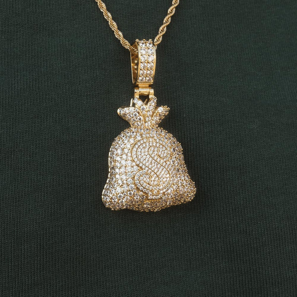 Diamond Fully Iced Moneybag Pendant Necklace by Bread Gang 1