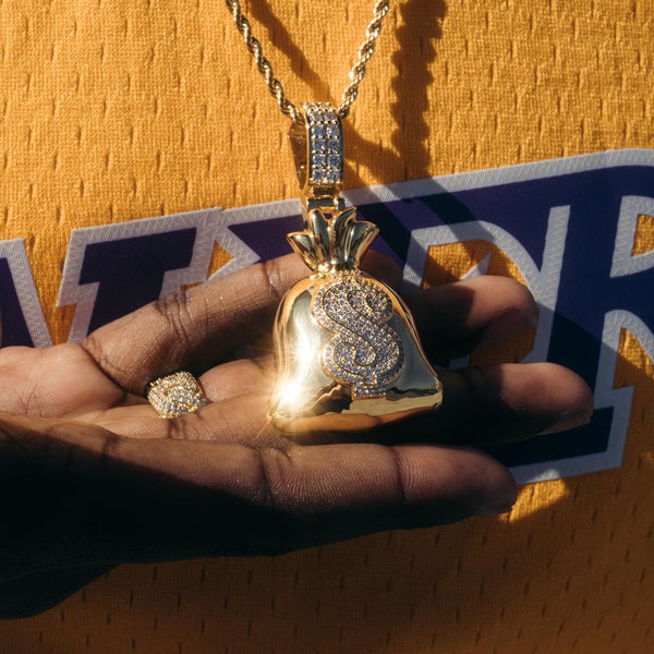 Diamond Moneybagg Yo Pendant Necklace by Bread Gang Gold Gods 1