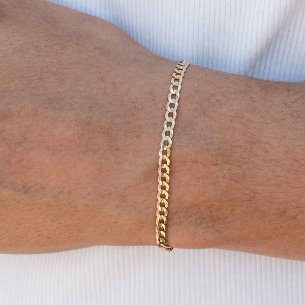 Solid Gold Curb Cuban Bracelet Gold Gods® 3.5mm Lifestyle