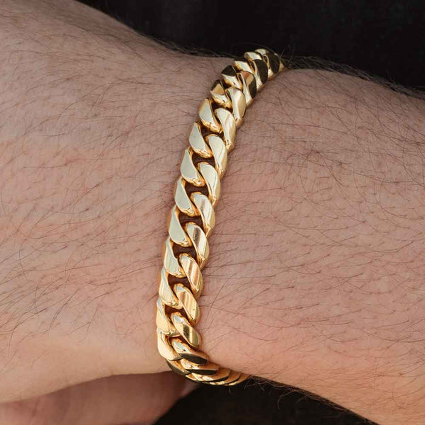 Solid Gold Miami Cuban Link Bracelet Hollow Gold Gods® 6mm
