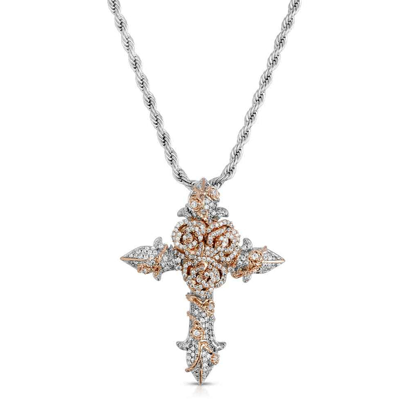 Gold & Diamond Rose Cross Necklace Gold Gods® 2 Tone Front