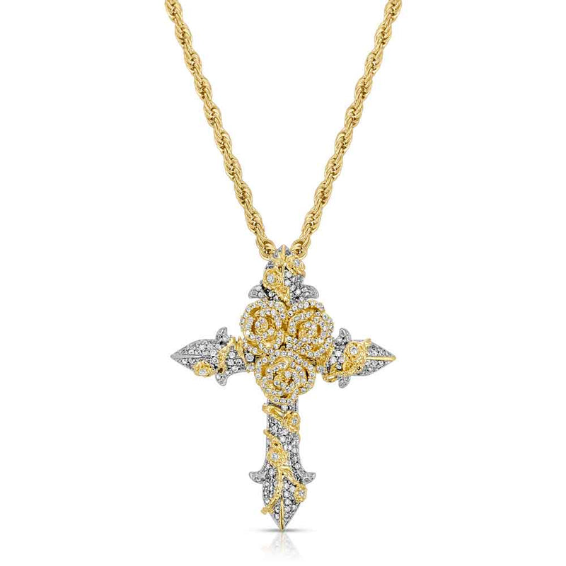 Gold & Diamond Rose Cross Necklace Gold Gods® Gold Front