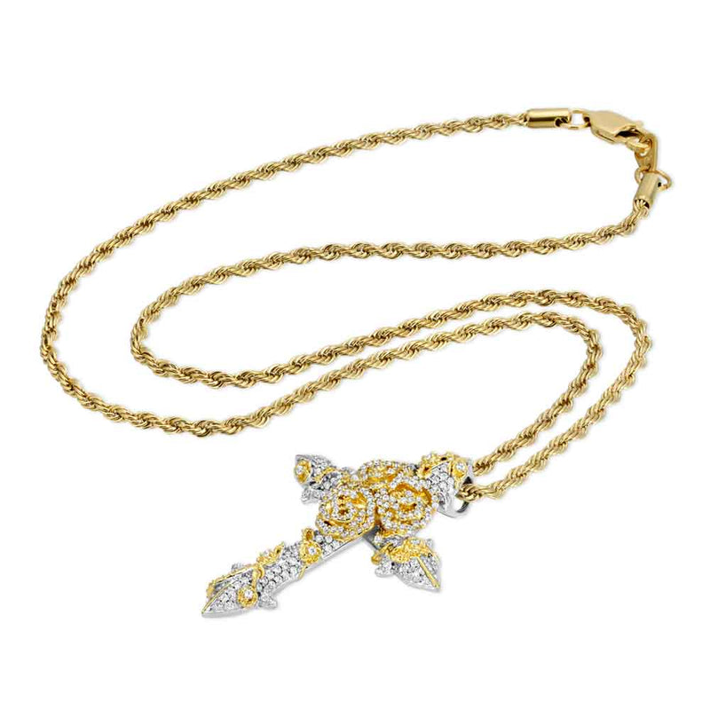Gold & Diamond Rose Cross Necklace Gold Gods® chain