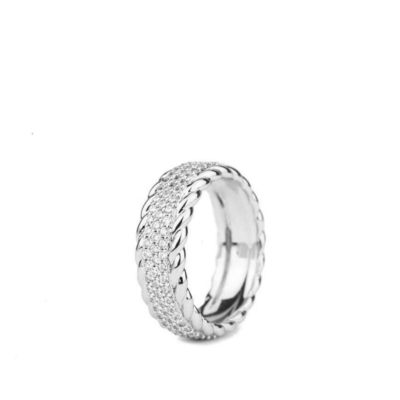 Diamond 3-Row Rope Ring White Gold Gods® close up view