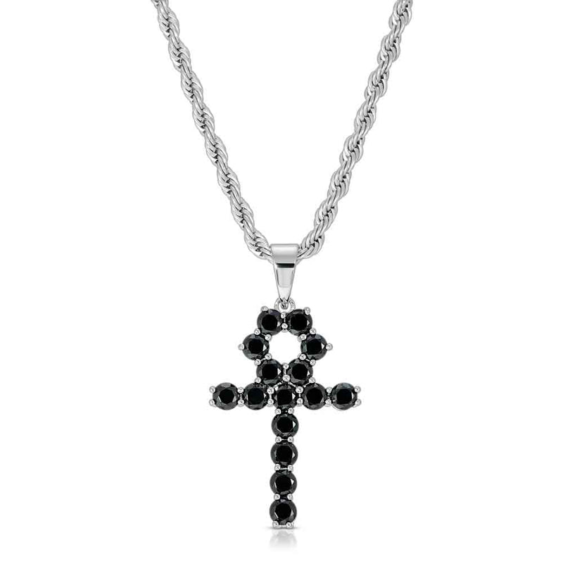 Micro Onyx Ankh Necklace in White Gold