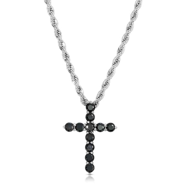 Micro Onyx Cross Necklace