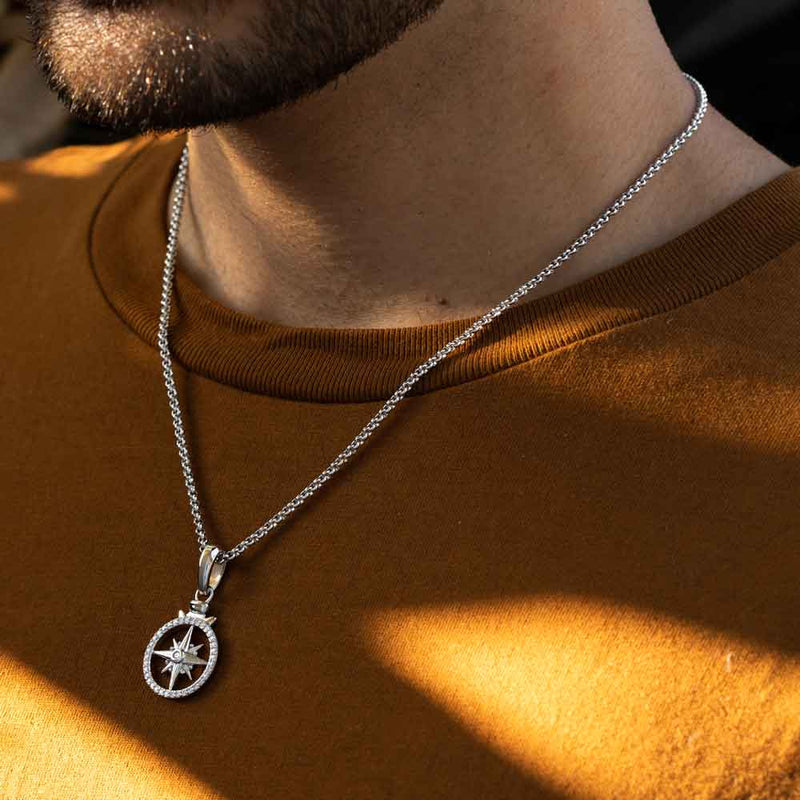 Micro Open Compass Necklace Pendant Gold Gods 4