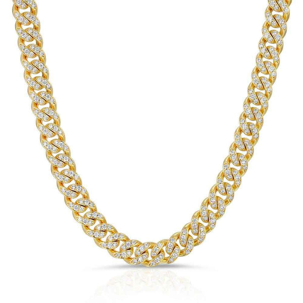 Gold Miami Diamond Cuban Link Chain 8mm Gold Gods® front view