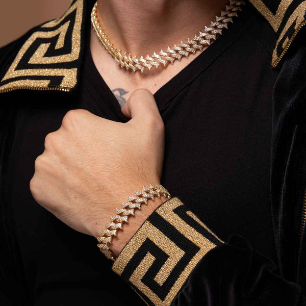 Diamond Cuban Spiked  Set Gold Golds® lifestyle look