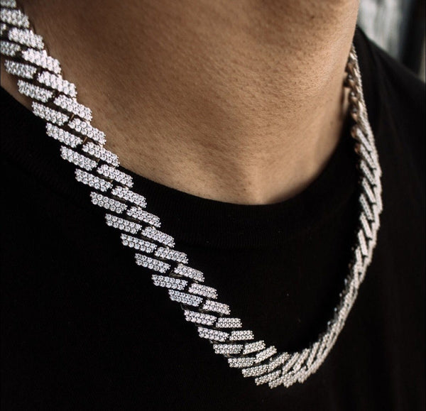Diamond Cuban Link Chain Straight Edge in White Gold 15mm Gold Golds® lifestyle look