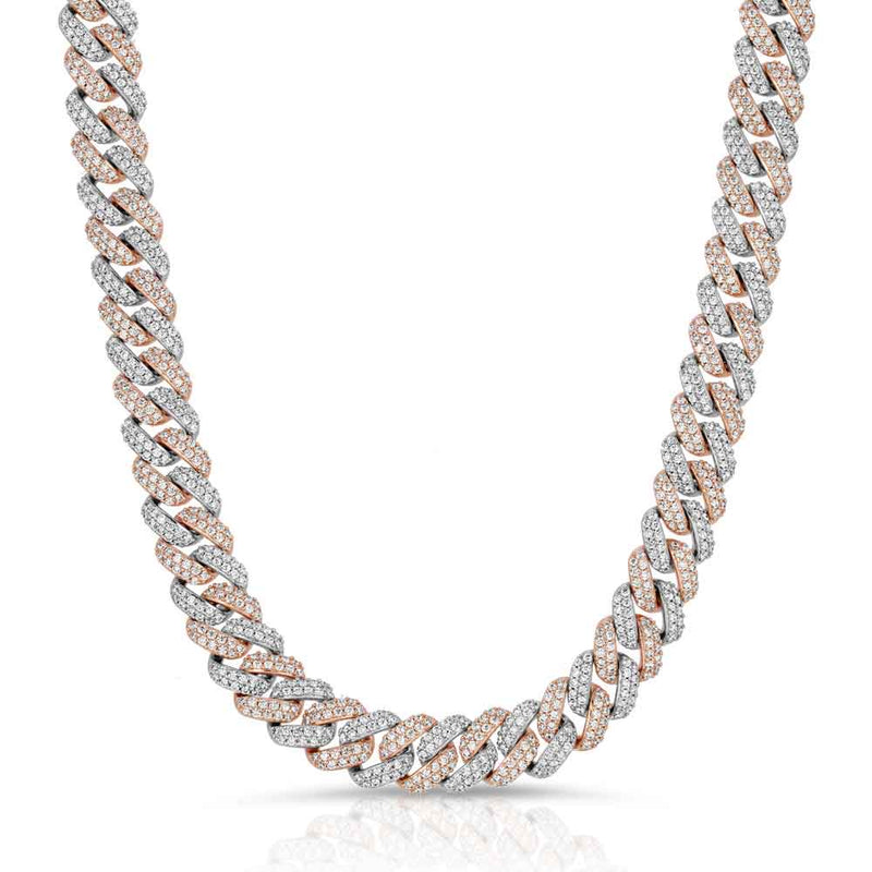 Diamond Cuban Link Choker Chain (12mm) Gold Gods® Two Tone Front
