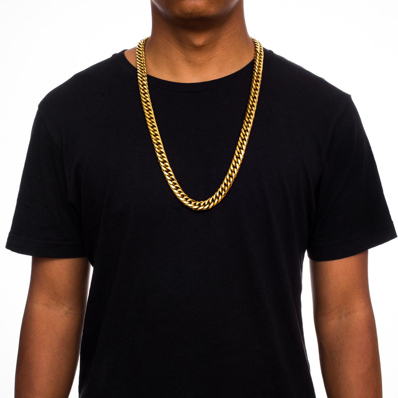 Curved Cuban Link Chain 12mm Gold Gods® on person