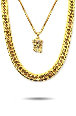 Jesus Piece & Cuban Link Set