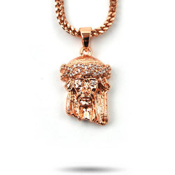 Jesus Piece Rose Gold Necklace Pendant & Franco Gold Chain Gold Gods® close up front view
