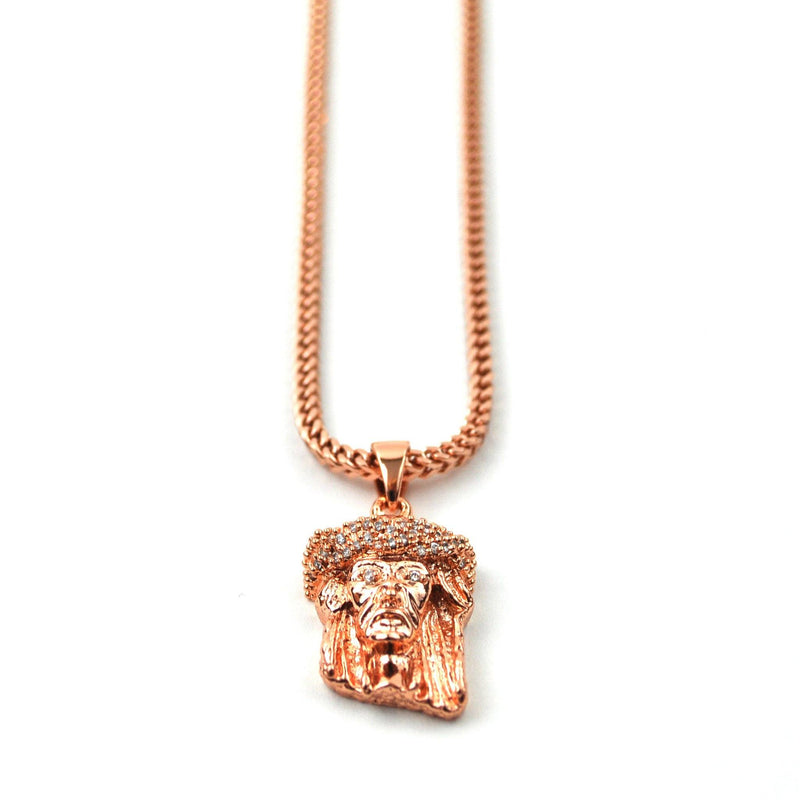 Jesus Piece Rose Gold Necklace Pendant & Franco Gold Chain Gold Gods® front view