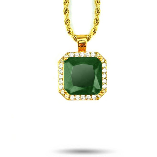Aura Emerald Pendant Necklace & Rope Gold Chain Gold Gods® close up front view