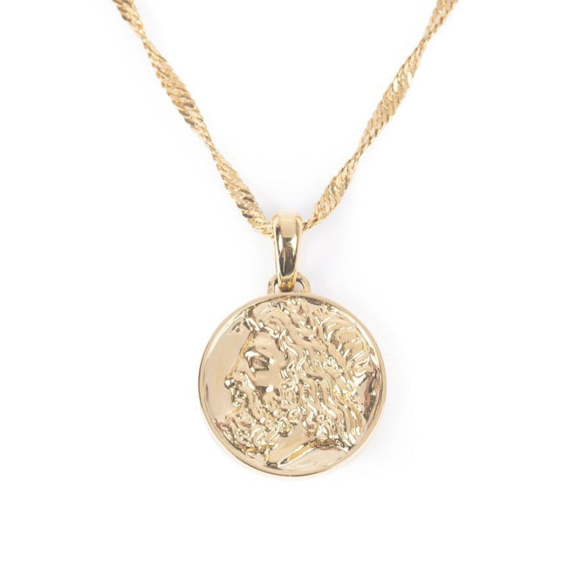 Women's Zeus Ancient Coin Necklace Gold Goddess 1