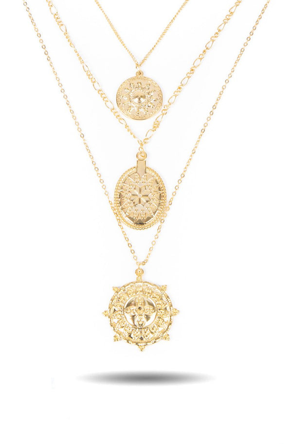 Women's  Layered Medallion Necklace