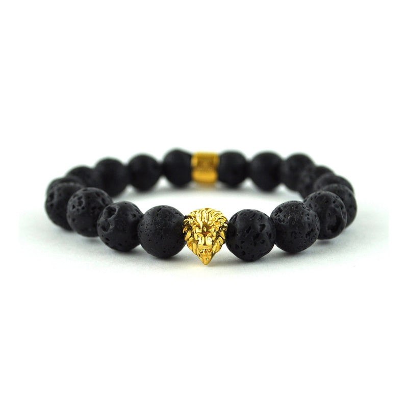 Lava Stone Lion Beaded Bracelet