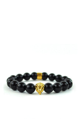 Glossy Black Lion Beaded Bracelet