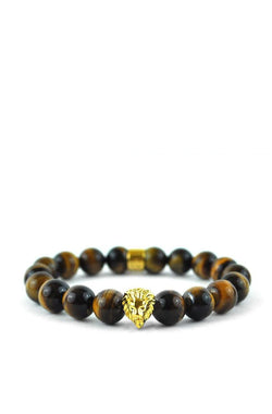 Tiger Eye Gemstone Lion Beaded Bracelet Gold Gods® close up view