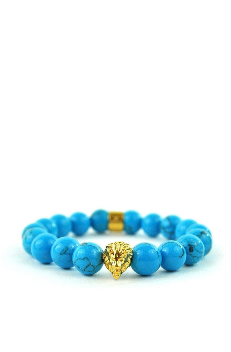 Turquoise Gemstone Lion Beaded Bracelet