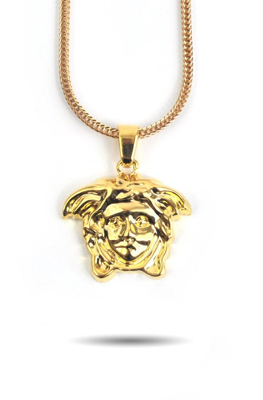 gold made custom diamond medusa style versace ye pendant medallion