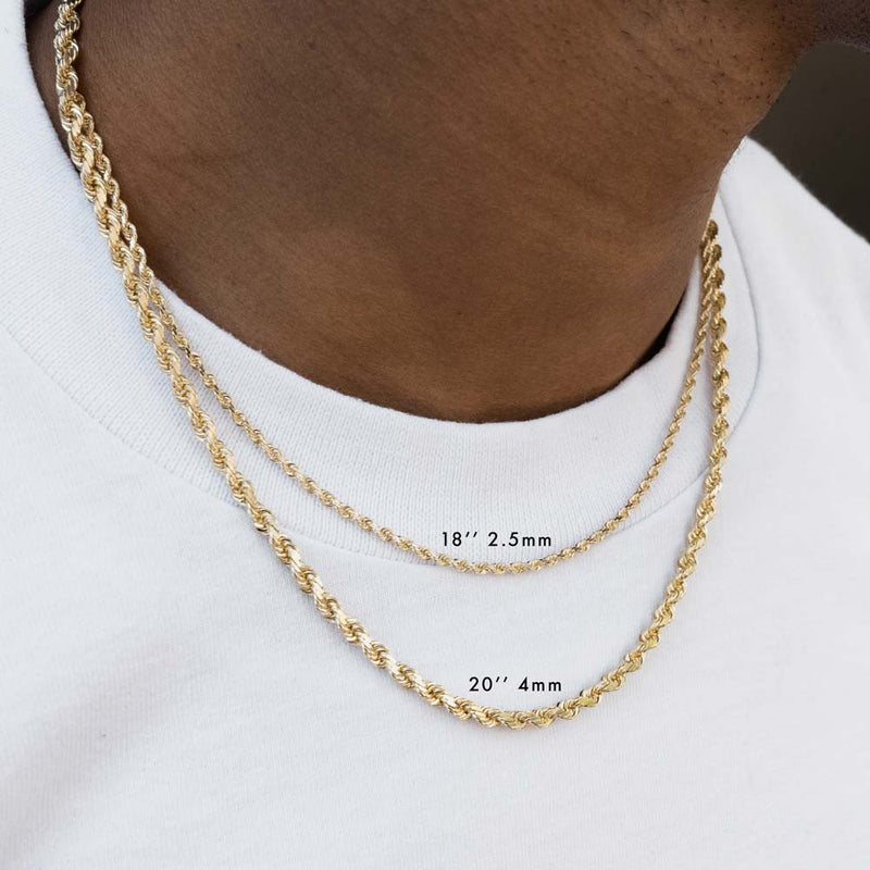 Solid Gold Hollow Rope Chain Gold Gods® Layered