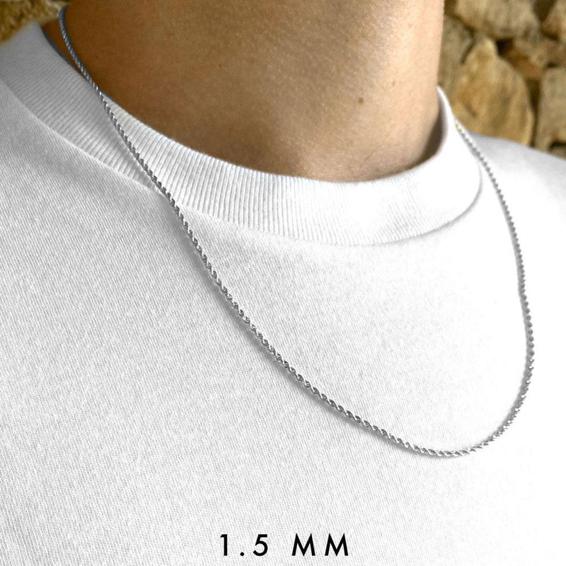 Solid Gold Rope Chain (White Gold) Lifetime Warranty + Free Shipping | Golds Gods® 7