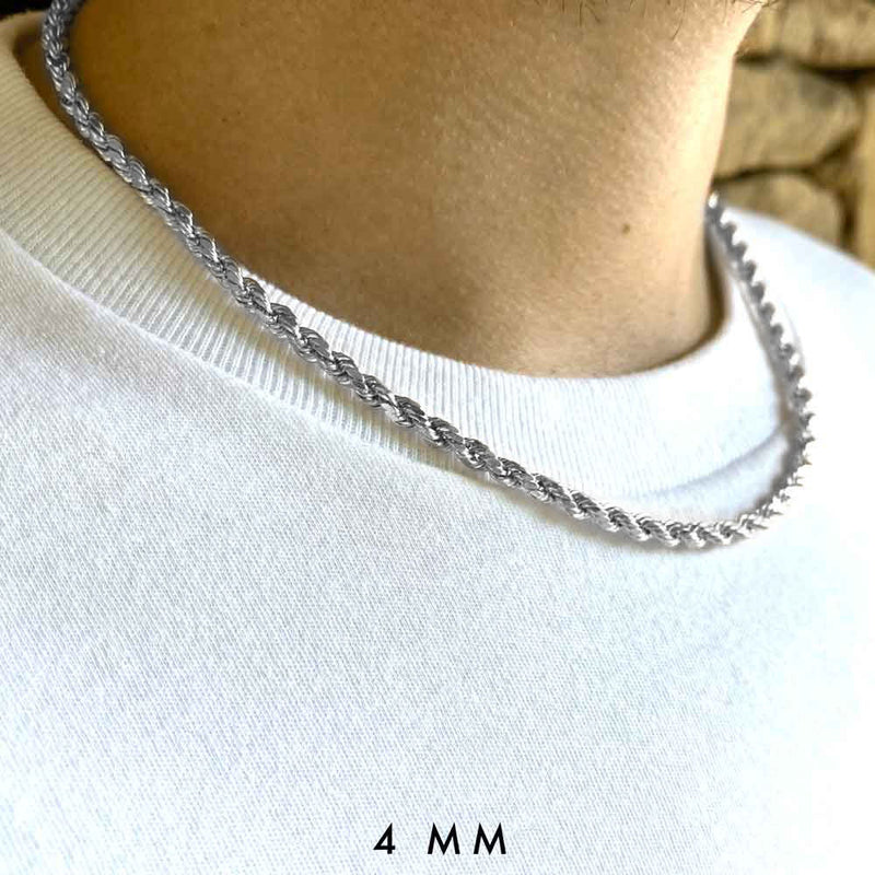 Solid Gold Rope Chain (White Gold) Lifetime Warranty + Free Shipping | Golds Gods® 6