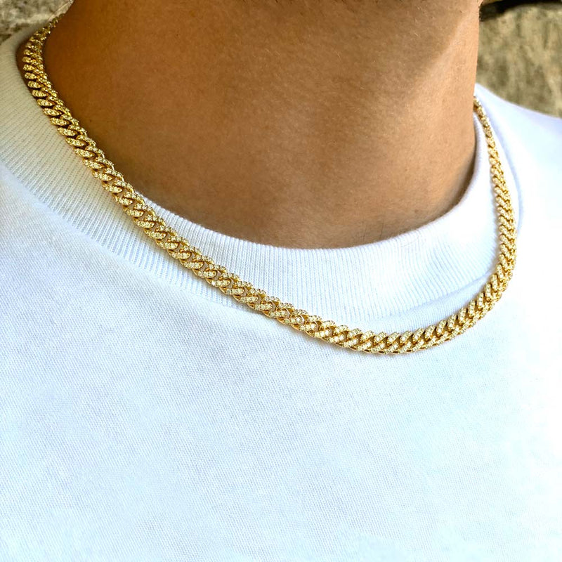 Solid Gold Diamond Cuban Link Chain (6mm)