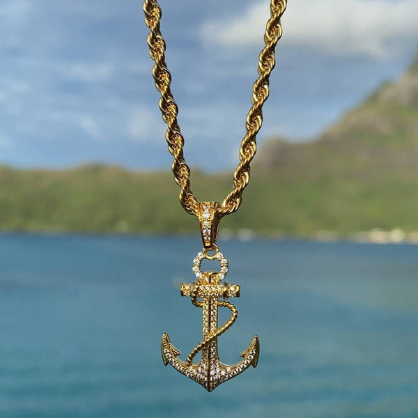 Gold Diamond Anchor Pendant Necklace Gold Gods