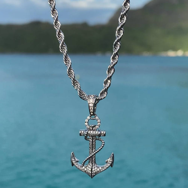 White Gold Diamond Anchor Pendant Necklace Gold Gods
