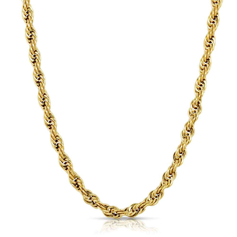 Solid Gold Hollow Rope Chain Gold Gods® front view