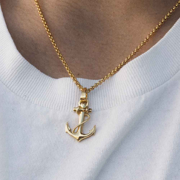 Gold Anchor Pendant with Rope Chain Gold Gods