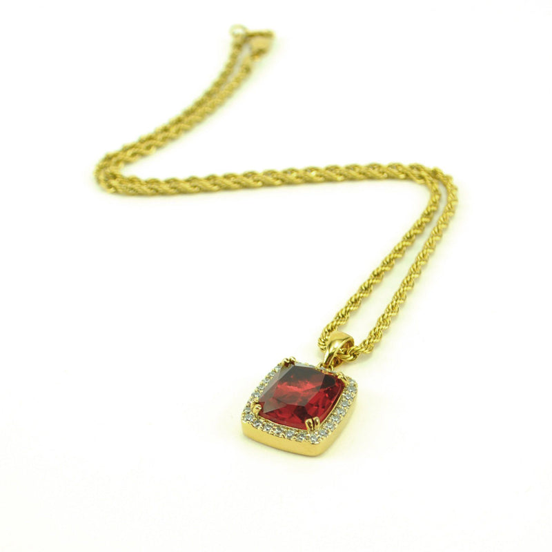 Micro Aura Ruby Necklace Pendant & Rope Gold Chain Gold Gods® top side view
