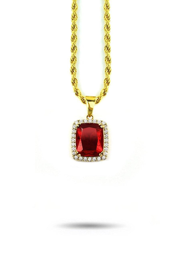 Micro Aura Ruby Necklace Pendant & Rope Gold Chain Gold Gods® front view